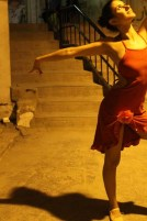 Ballet dancer during our photography project at this ghetto area in amman webdeh jordan jadal culture with dimmed street light