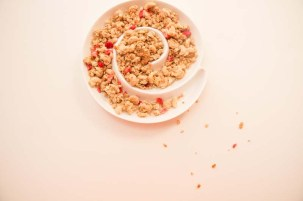 crunchy oats and raspberry with milk