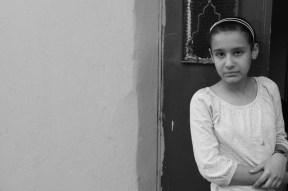 jordanian little girl black and white