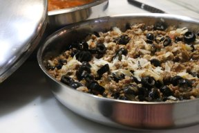 Making cannelloni with black olives minced meat and basil suzies kitchen recipe cooking