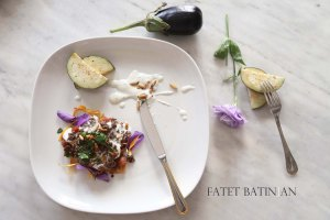 Middle-Eastern Eggplant Casseroles also known as Fatet Batinjan فتت بيتنجان or Fatet Makdous فتيت مكدوس