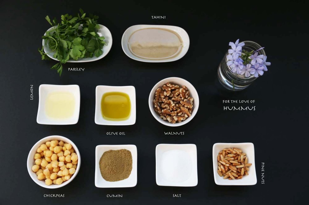 ingredients for the hummus palestinian jordanian lebanese dish chickpeas olive oil