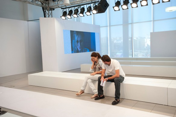 Razan Masri and Akram Abu Karaki during the making of Mercedes-benz fashion week in Amman