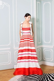 Red stripped dress Spring summer 2014 nyfw