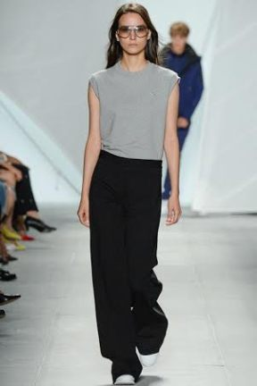 grey top and black skirt classic chic spring summer 2015