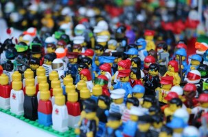 People in the karaoke mauerpark berlin lego