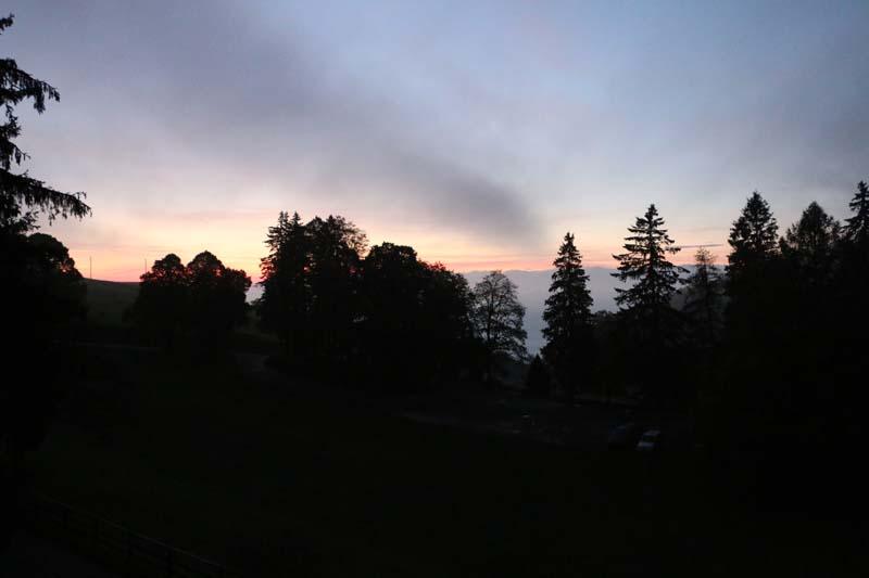 Sunset in the Jura mountains switzerland