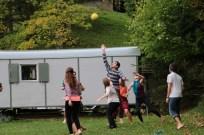 Playing ball at Tannenheim Oberbalmberg, Solothurn (Switzerland)