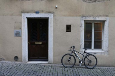 Bicycle door in the gothic medieval town of switzerland