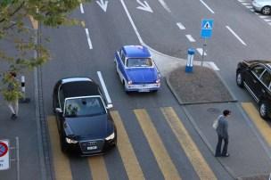 24 hours in Zurich Switzerland blue sports vintage car