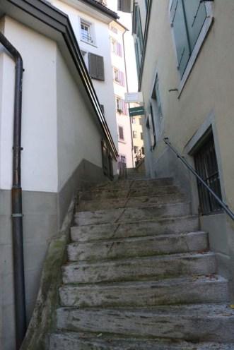 24 hours in Zurich Switzerland vintage stairs