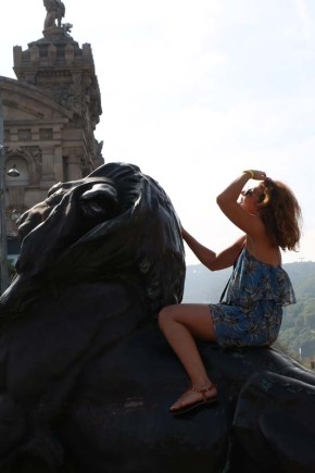 Ride the lion in Barcelona Spain