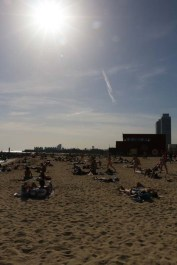 Sun dust at the beach of barcelona