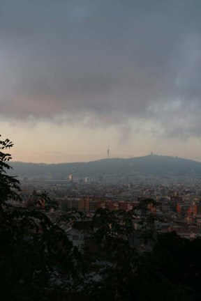 Overlooking city of Barcelona from the mountains during sunset time