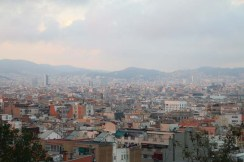 Sunset overlooking the city of barcelona