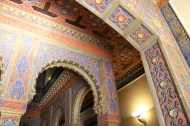 Authentic old architecture of barcelona with Islamic art