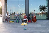 Band playing by the beach