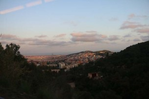 Barcelona city view over sunset