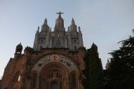 The tibidabo church of barcelona on the tip of the mountain