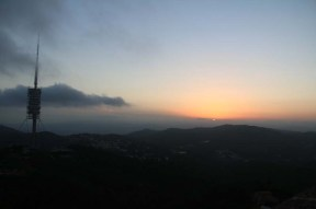 Sunset at Tibidabo toppest mountain in Barcelona