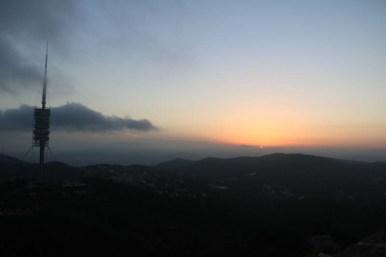 Sunset at Tibidabo toppest mountain in Barcelona