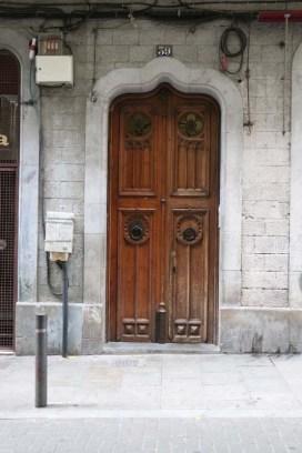 Old brown antique vintage door Streets of barcelona artsy