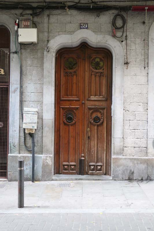 Old brown antique vintage door Streets of barcelona artsy