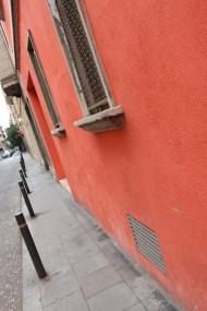 Red orange wall Streets of barcelona artsy