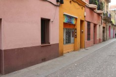 Colored walls Streets of barcelona artsy