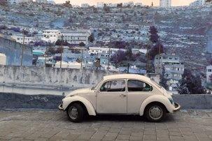 Al Salt, AsSalt, Al-Salt, AlSalt, Jordan, A very old white Volkswagen car by the city, سيارة فوكس قديمه fox