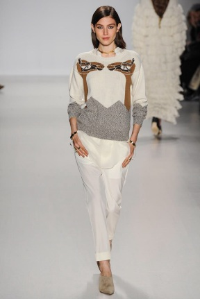 white sweater with camel and white pants Earth colors ready to wear