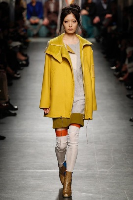 yellow coat fabric mix and art formed ready to wear outfits