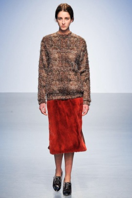 red skirt and nude sweater Earth colors ready to wear