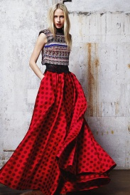red skirt fabric mix and art formed ready to wear outfits