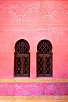 Red wall with Islamic Architecture and Windows