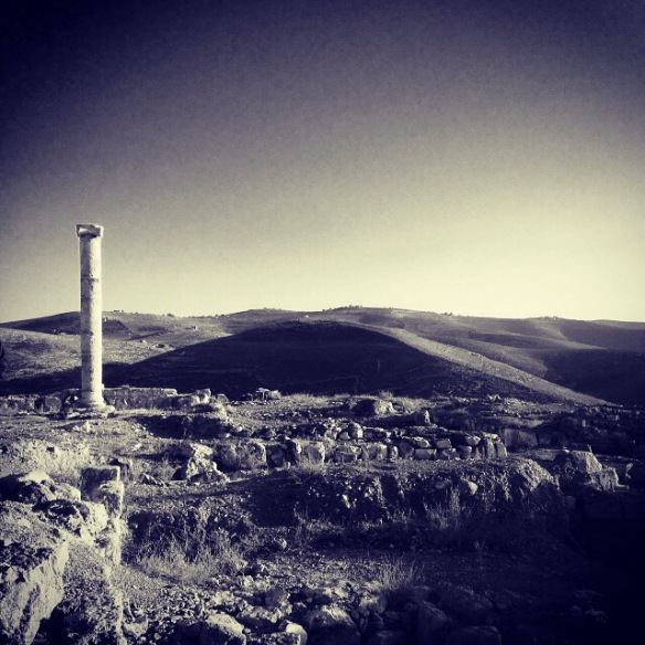 The historic ancient attraction in Jordan of the Mukawir Fortress Black and white
