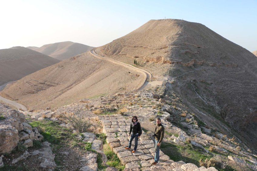 The historic ancient attraction in Jordan of the Mukawir Fortress