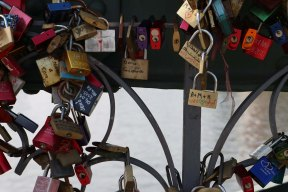 Love lock padlock bridge in Frankfurt