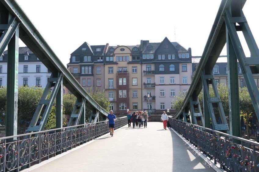 Love lock padlock bridge in Frankfurt