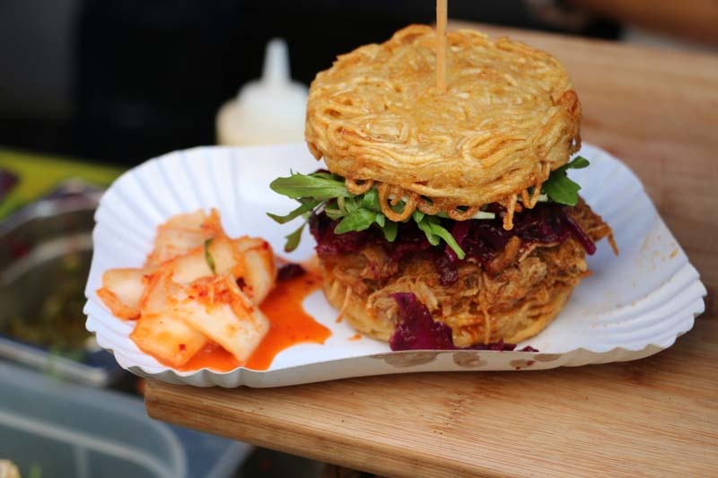 This is a Japanese burger with fried pork and fried noodles
