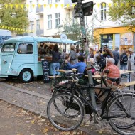 Blue bus food Neukolln flea market in Berlin Maybachufer
