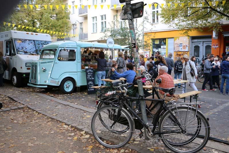 Blue bus food Neukolln flea market in Berlin Maybachufer