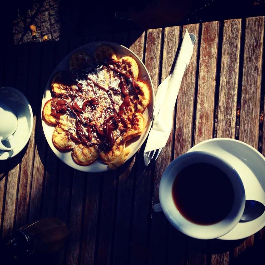 Chocolate pancakes and coffee