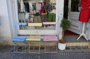 Blue yellow and pink chair
