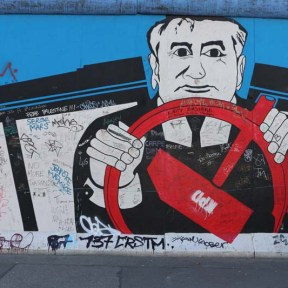 Man driving car graffiti