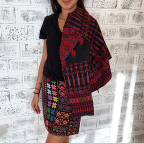My pretty @poccaa ❤️💋 #PalestineCollection 💕🍉🍇🍒 wearing #Mochi mini skirt and jacket #embroidery#details#ootd