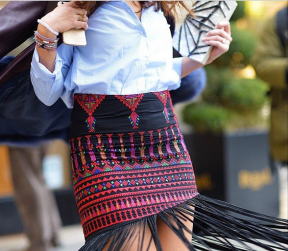 Sooo this just happened ❤️🇫🇷🙌👯 we love how @nytimesfashion captured @sofiaguellaty from @stylearabia twirling in the #Mochi fringe skirt #fashionweek#couture#show#spotted#grateful#2015#allthingsmochi#palestinecollection#embroidery