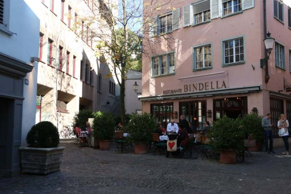 A photograph of pink old building in Zurich Altstadt old town first district