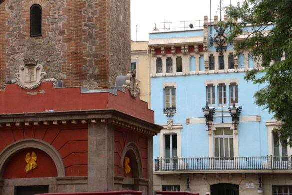 Blue house and old architecture