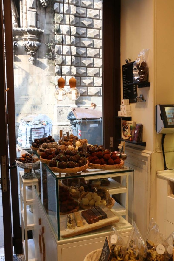 Best chocolate shop with cookies donuts and chocolates to die for in Barcelona